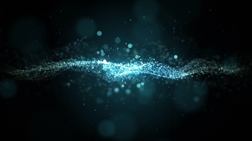 Waving Water Blue Particles in Abstract Seamless Movement on Black Background. Looped 3d Animation of Blue Dots with Bokeh Blur. 4k Ultra HD 3840x2160