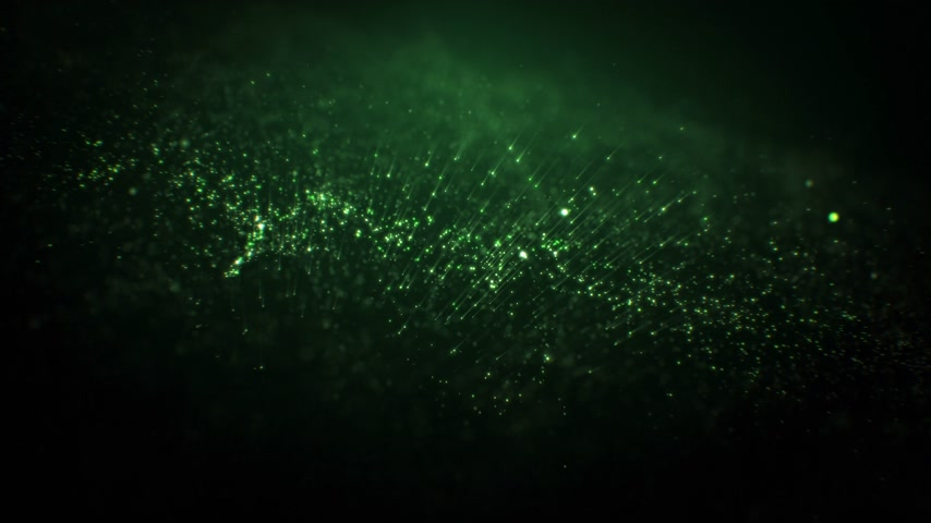 Abstract Green Particles Generation into Morphing Shape Seamless. Looped 3d Animation of Moving Dust Glowing on Black Background with Bokeh Blur. 4k Ultra HD 3840x2160