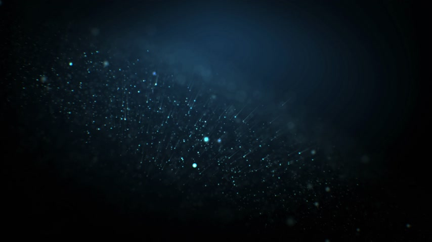 Abstract Particles Flying Away Seamless. Looped 3d Animation of Moving Dust Glowing on Black Background with Bokeh Blur. 4k Ultra HD 3840x2160