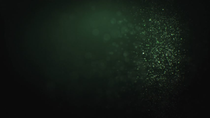 Beautiful Abstract Particles Flowing Slow Seamless. Looped 3d Animation of Moving Dust Glowing on Black Background with Bokeh Blur. 4k Ultra HD 3840x2160