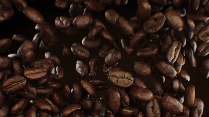 Beautiful Abstract Roasted Coffee Beans Fall Down and Fill the Screen Making Transition Close-up in Slow Motion on Green Screen. 3d Animation with Alpha Matte. 4k Ultra HD 3840x2160