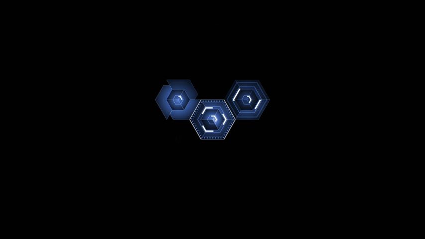 Abstract Digital Blue Hexagon Icons Drawing on Black Background Filling the Screen. Digital Technology 3d Animation. 4k Ultra HD 3840x2160