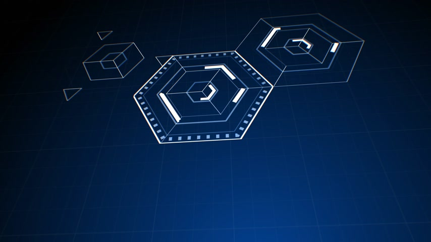 Drawing Abstract Hexagon Icons on Digital Screen. Digital Technology 3d Animation. 4k Ultra HD 3840x2160.