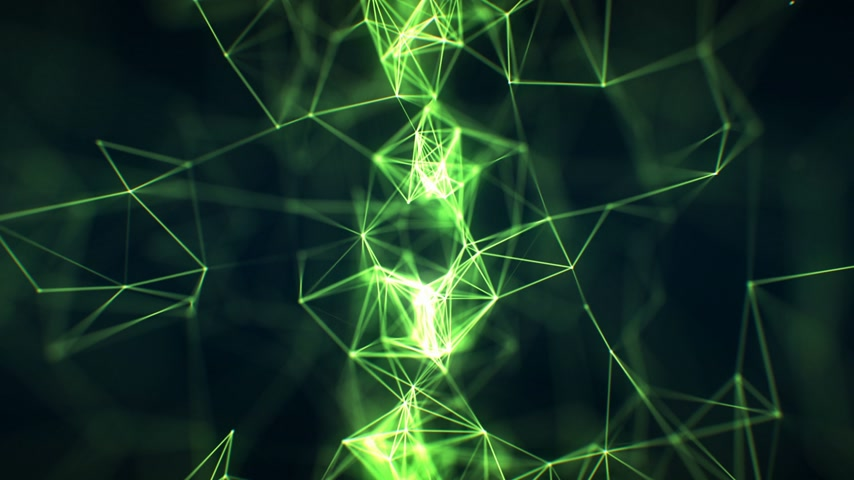 Beautiful Abstract Growing Network Close-up Green Color in Cyberspace Seamless with DOF Blur. Looped 3d Animation of Futuristic Virtual Technology Concept. 4k Ultra HD 3840x2160