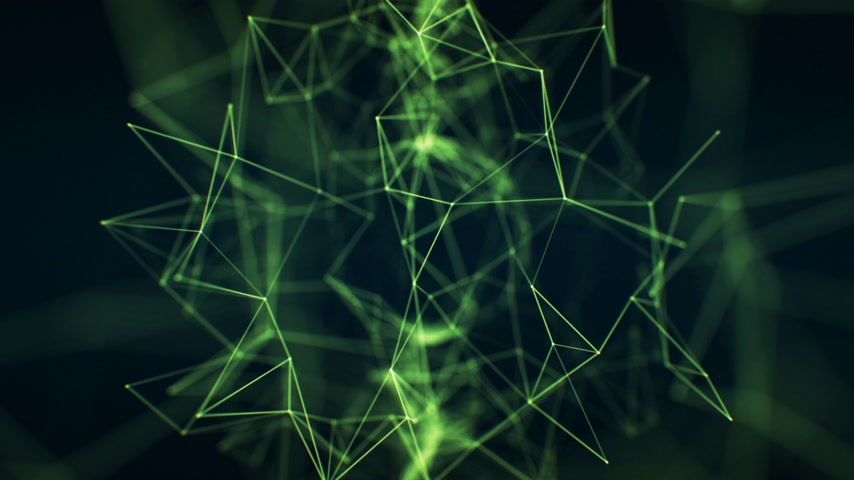 Flying Through the Abstract Growing Network Green Color in Cyberspace Seamless Close-up with DOF Blur. Looped 3d Animation of Futuristic Virtual Technology Concept. 4k Ultra HD 3840x2160