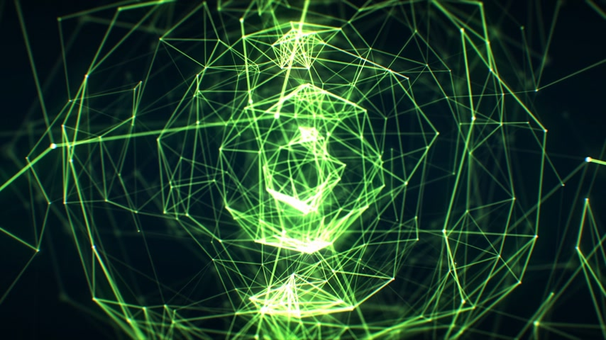 Growing Abstract Network Green Color in Cyberspace Seamless with DOF Blur. Looped 3d Animation of Futuristic Virtual Technology Concept. 4k Ultra HD 3840x2160