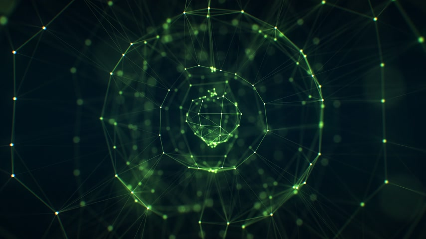 Beautiful Abstract Green Holographic Sphere Network Grid Rotating in Close-up DOF Blur Seamless. Looped 3d Animation of Growing Business Network Concept. 4k Ultra HD 3840x2160