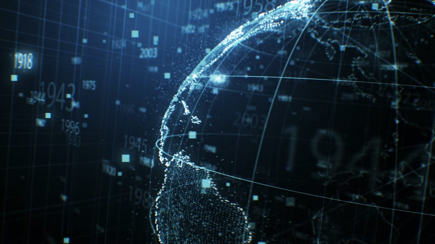 Close-up 3d Animation of Turning Earth Hologram with Numbers and Dots Seamless. Looped 3d Animation with DOF Blur. Futuristic Business and Technology Concept 4k UHD 3840x2160