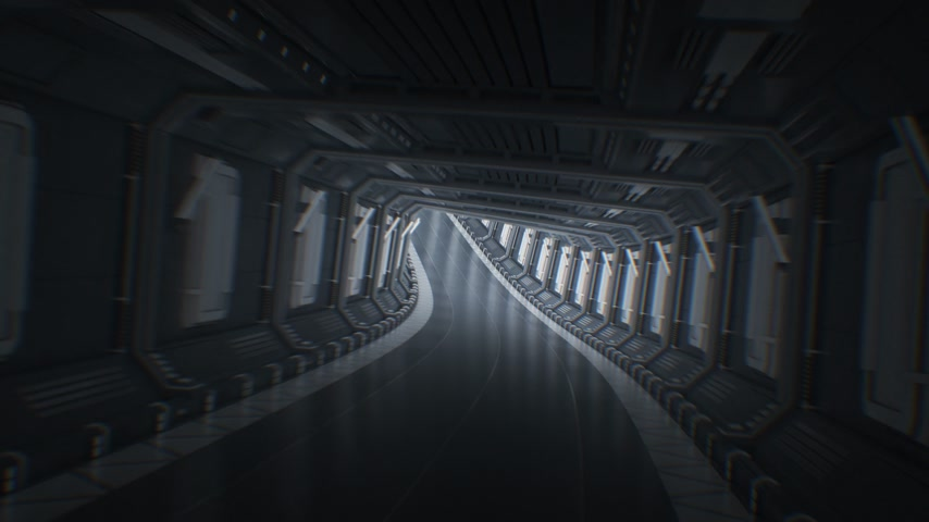 evacuation : Beautiful Fast Flight Through the Endless Abstract Tunnel. Moving in Futuristic Spaceship Tunnel Looped 3d Animation. Seamless CG. Futuristic Technology Concept. 4k Ultra HD 3840x2160 Stock Footage