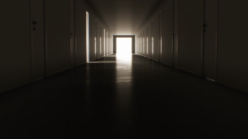 Moving Through the Dark Corridor with Many Opening and Closing Doors to the Bright White Exit. Business and Technology Concept. 4k Ultra HD 3840x2160