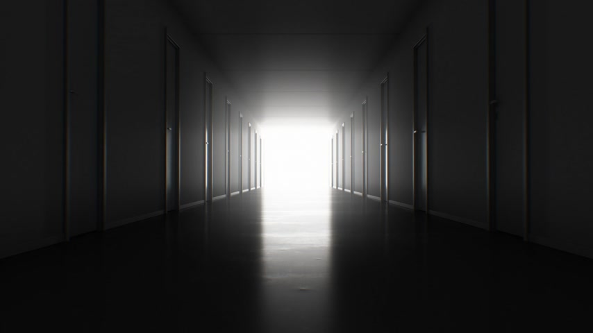 světlo : Seamless Motion Through the Dark Corridor with Many Closed Doors to the Bright White Exit. Looped 3d Animation Light in the End. Business and Technology Concept. 4k Ultra HD 3840x2160