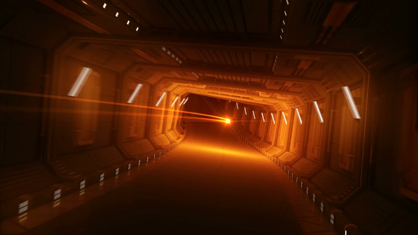 Orange Glowing Stroke Flying in the Abstract Spaceship Tunnel. Beautiful Looped 3d Animation Motion in Futuristic Metal Tunnel. Futuristic Technology Concept. 4k Ultra HD 3840x2160 Stok Video