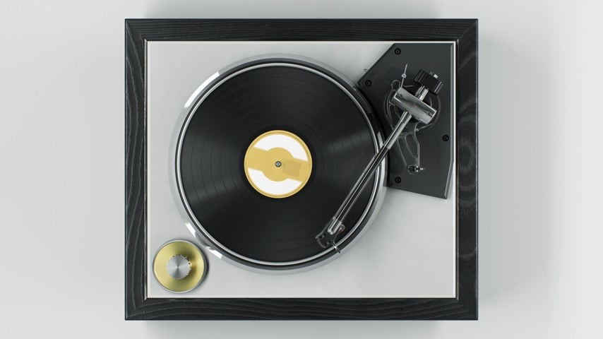 Beautiful Abstract Vintage Vinyl Record Player with Turning Disk and Moving Stylus and Needle Top View on White Background Seamless. Looped 3d Animation DJ Turntable Plate. 4k Ultra HD 3840x2160
