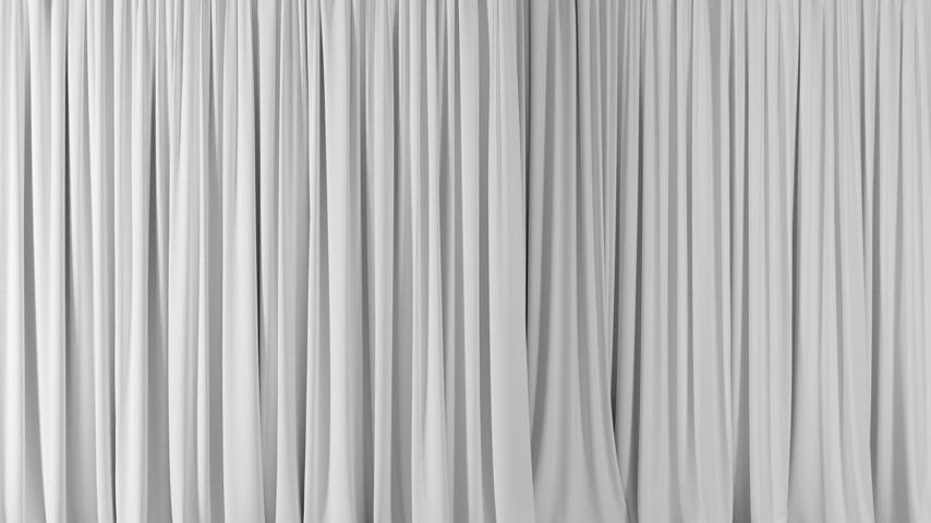 Beautiful White Waving Curtains Opening and Closing on Green Screen. Abstract 3d Animation of Silk Cloth Revealing Background with Alpha Matte. 4k Ultra HD 3840x2160 Stok Video