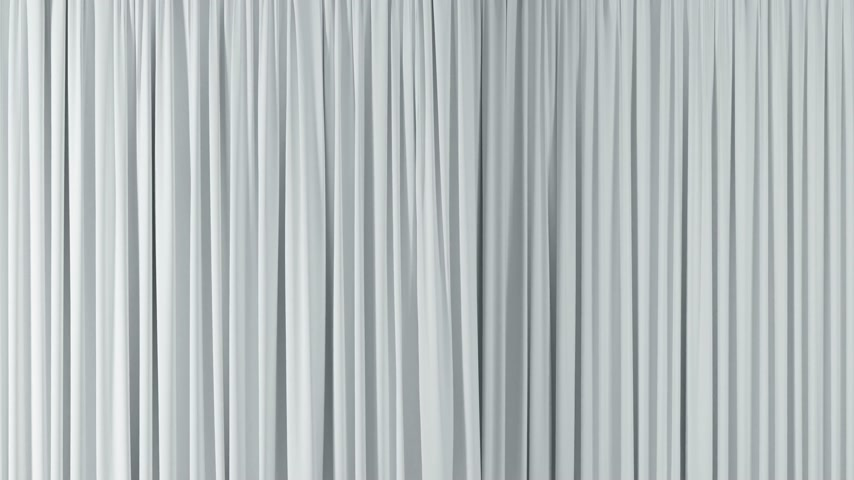 panejamento : Theatrical White Waving Curtains Opening and Closing on Green Screen. Abstract 3d Animation of Silk Cloth Revealing Background with Alpha Matte. 4k Ultra HD 3840x2160