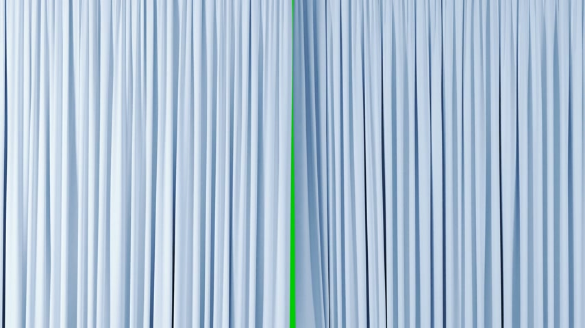 Beautiful Light Silky Curtains Waving in the Wind Revealing the Background. 3d Animation with Green Screen, Alpha Mask. 4k Ultra HD 3840x2160 Stok Video