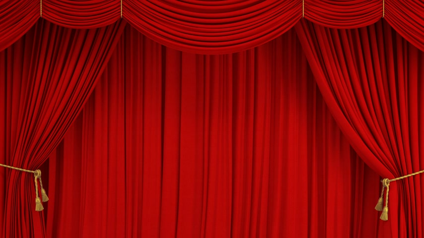 Beautiful Classic Theatrical Red Abstract Curtain Opening Rising and Closing with Green Screen. 3d Animation Realistic Theater Stage Curtain with Alpha Mask. 4k Ultra HD 3840x2160 Stok Video