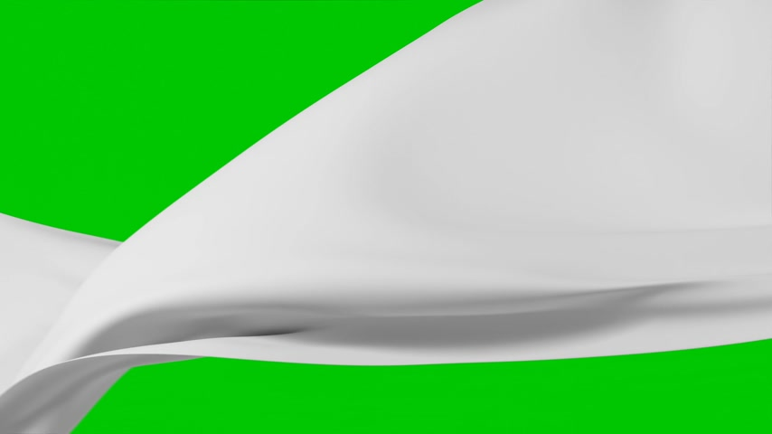 Beautiful White Silky Cloth Waving in the Wind Seamless Green Screen. Looped 3d Animation of Abstract Soft Textile Slow Moving in the Air. Alpha Mask. 4k Ultra HD 3840x2160