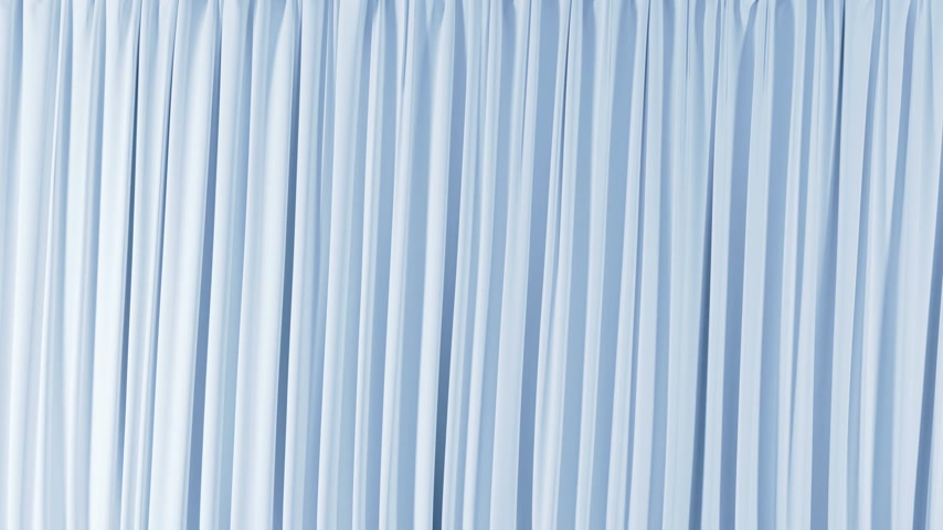 Single Blue Curtain Waving in Wind Opening and Closing. Beautiful 3d Animation Abstract Realistic Curtain Revealing Background Green Screen. Useful for Transitions. Alpha Mask 4k UHD 3840x2160,