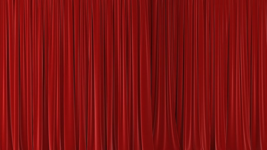 stage theater : Beautiful Red Waving Curtains Opening and Closing on Green Screen. Abstract 3d Animation of Silk Cloth Revealing Background with Alpha Matte. 4k Ultra HD 3840x2160