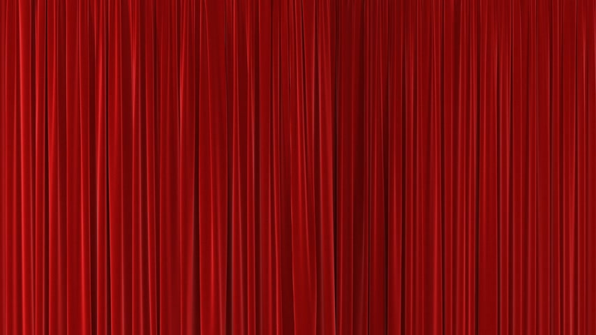 Red Theatrical Waving Curtains Opening and Closing on Green Screen. Abstract 3d Animation of Silk Cloth Revealing Background with Alpha Matte. 4k Ultra HD 3840x2160 Stock mozgókép