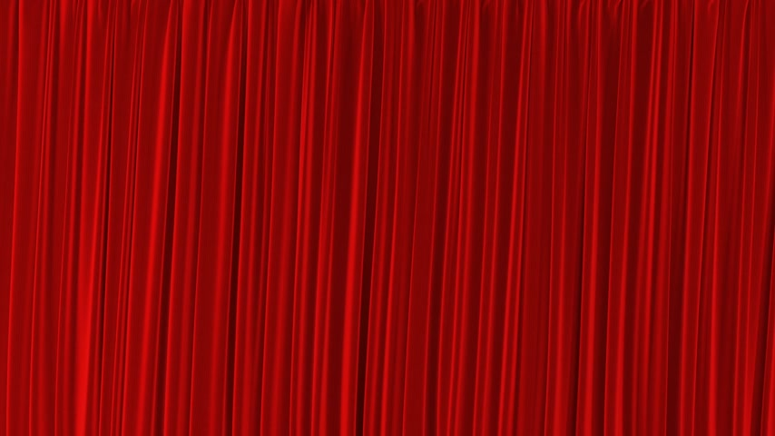 perdeler : Single Red Curtain Waving in Wind Opening and Closing. Beautiful 3d Animation Abstract Realistic Curtain Revealing Background Green Screen Useful for Transitions. Alpha Mask 4k UHD 3840x2160 Stok Video