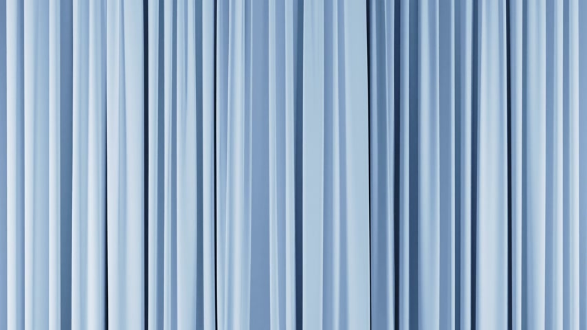 Classic Theatrical Light Blue Abstract Curtain Opening, Rising, Closing with Green Screen. 3d Animation Theater Stage Curtain with Alpha Mask. 4k Ultra HD 3840x2160