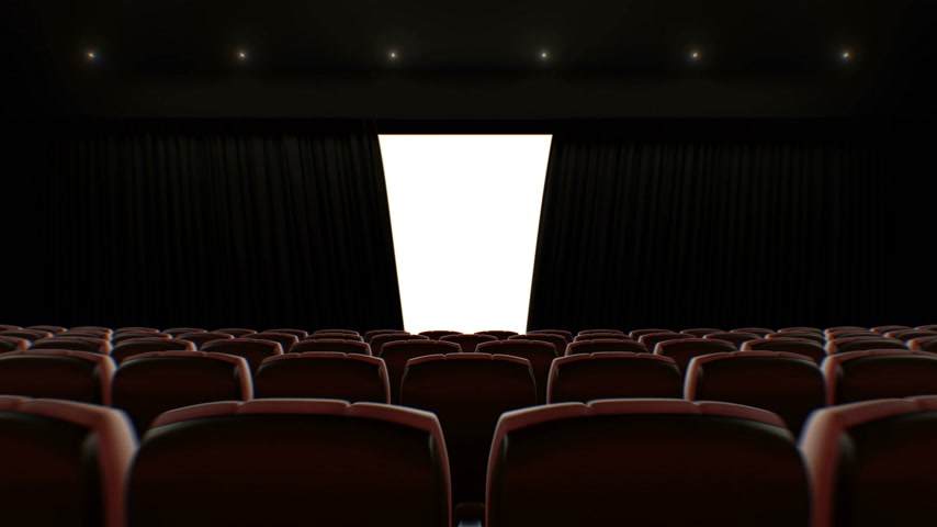 Cinema Hall Moving Through Over the Seats to the Opening Curtain and Screen. Beautiful 3d Animation with Lights, Green Screen and Tracking Points. Art and Technology Concept. 4k Ultra HD 3840x2160