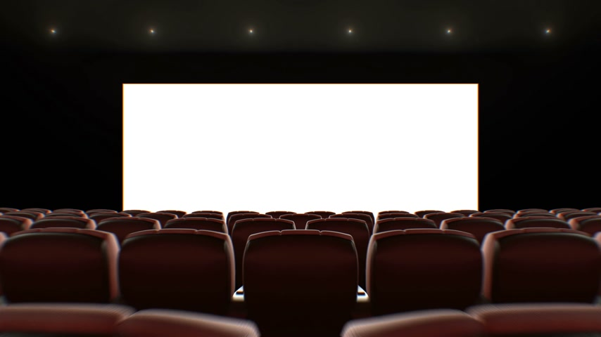 初演 : Wide Screen in Cinema Hall Moving Through Over the Seats. Beautiful 3d Animation with Lights, Green Screen and Tracking Points. Art and Technology Concept. 4k Ultra HD 3840x2160