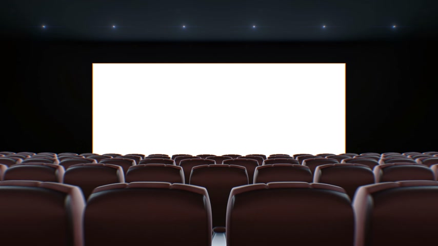 Wide Screen in Cinema Hall Moving Through Over the Chairs. Beautiful 3d Animation with Lights, Green Screen and Tracking Points. Art and Technology Concept. 4k Ultra HD 3840x2160