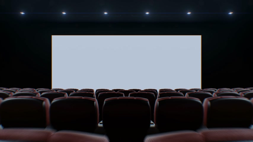 Moving Through the Dark Modern Cinema Hall Over the Chairs to the Lighting Up Screen. Beautiful 3d Animation with Green Screen and Tracking Points. 4k Ultra HD 3840x2160