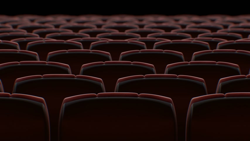 Moving Behind the Chairs in Abstract Cinema Hall with Black Screen Seamless. Looped 3d Animation of Rows of Seats in Cinema. Art and Media Concept. 4k Ultra HD 3840x2160.