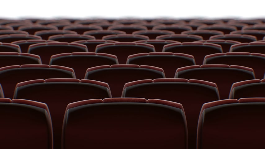 Moving Behind the Chairs in Abstract Cinema Hall with White Screen Seamless. Looped 3d Animation of Rows of Seats in Cinema. Art and Media Concept. 4k Ultra HD 3840x2160.