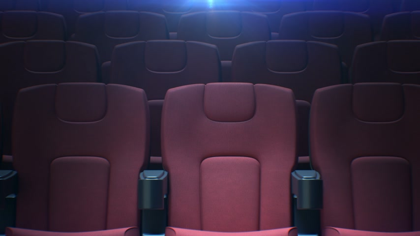 Moving Along Empty Cinema Chairs with the Back Light Seamless. Looped 3d Animation of Rows of Red Seats in Cinema Hall. Art and Media Concept. 4k Ultra HD 3840x2160. Stock mozgókép