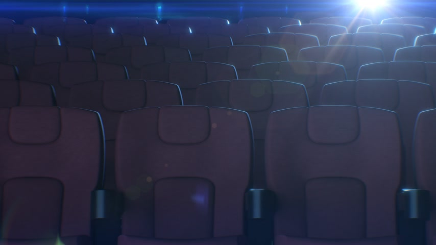 Rows of Red Chairs in Cinema Hall with Flashing Movie Projector Light at the Background. 3d Animation of Red Seats in Cinema. Art and Media Concept. 4k Ultra HD 3840x2160.