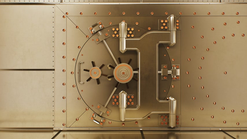 Beautiful Big Round Vault Door Opening to the Golden Bullions Reserve. Abstract 3d Animation of Bank Gold Storage Room. Banking and Financial Concept. 4k Ultra HD 3840x2160