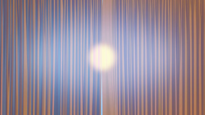 zonwering : Sun Shining Through the Light Silky Curtains Waving in the Wind. 3d Animation of the Sun Rays Passing Through the Curtains. 4k Ultra HD 3840x2160.