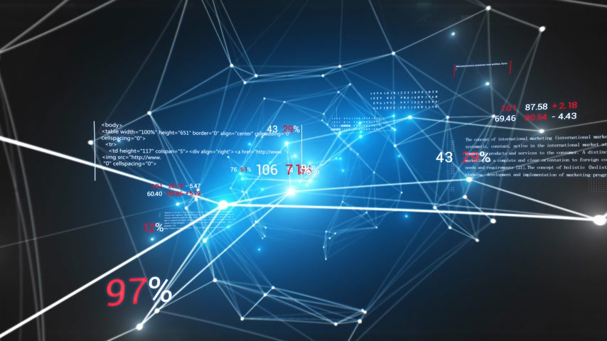 Abstract Growing Blue Network with Economics Style Digits and Text Seamless. Looped 3d Animation of Bright Network in Cyberspace with Flashing Lights. Business Concept. 4k Ultra HD 3840x2160