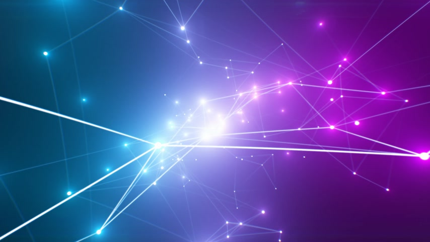 Beautiful Abstract Glowing Lights Purple and Blue Colors with Growing Network Connections in Cyberspace Seamless. Looped 3d Animation of with Flashing Lights. 4k Ultra HD 3840x2160 Stock mozgókép