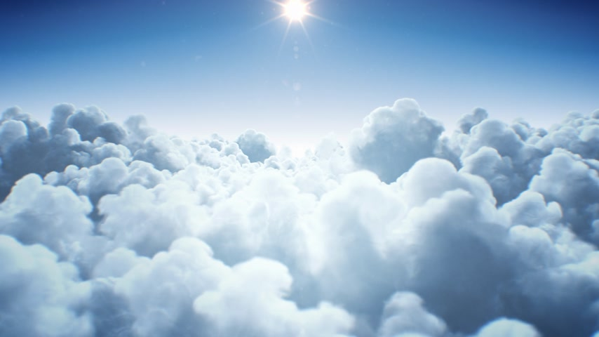 Beautiful Endless Clouds Under the Shining Bright Sun Daylight Seamless. Looped 3d Animation Flying Above the Clouds with the Afternoon Sun. 4k Ultra HD 3840x2160. Stock mozgókép