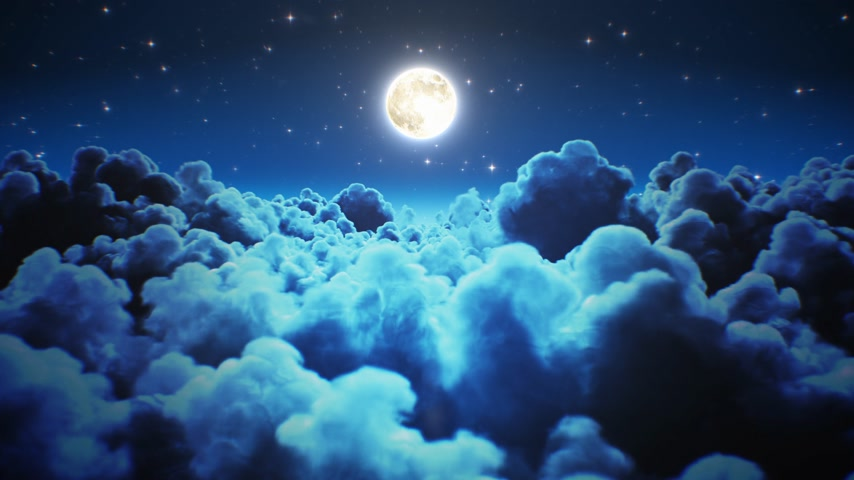 Flying Over the Night Timelapse Clouds with Moon Light Seamless. Looped 3d Animation of Flight Through the Midnight Cloudscape with Twinkling Stars in Sky. 4k Ultra HD 3840x2160.
