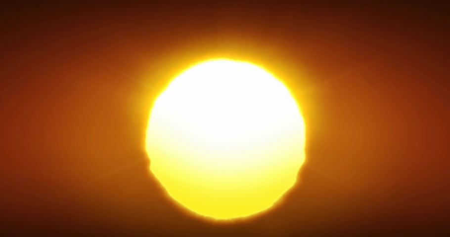 Beautiful Clear Big Sunrise or Sunset Close-up Looped Animation. Big Red Hot Sun in Warm Air Distortion Above Horizon Seamless. 4k Ultra HD 4096x2160