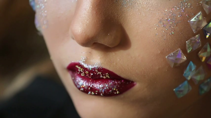 multicolorido : Fashion makeup. Woman with colorful makeup and body art