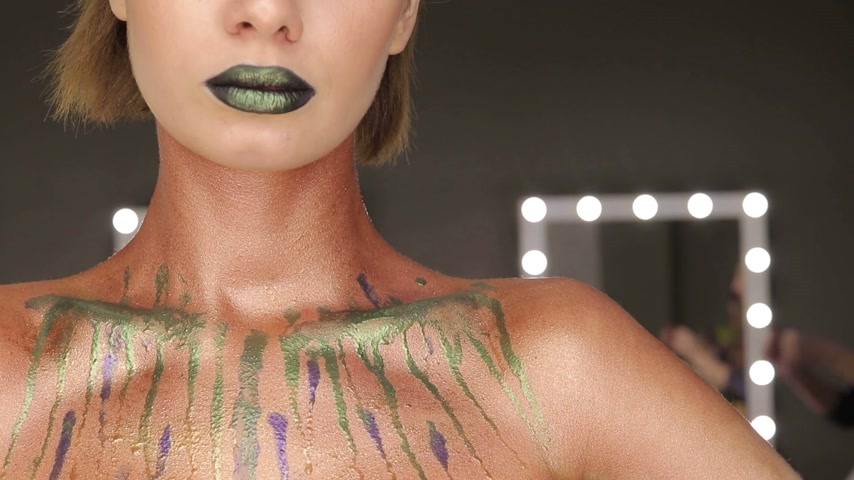 Fashion Green Sexy Lips and Closeup. Open Mouth. Make up concept. Kiss Стоковые видеозаписи