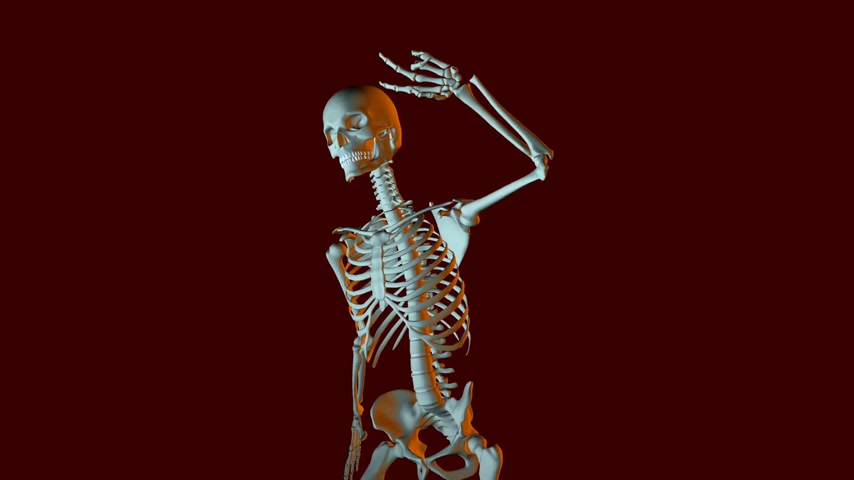 grotesque : Dancing Skeleton Animation Stock Footage