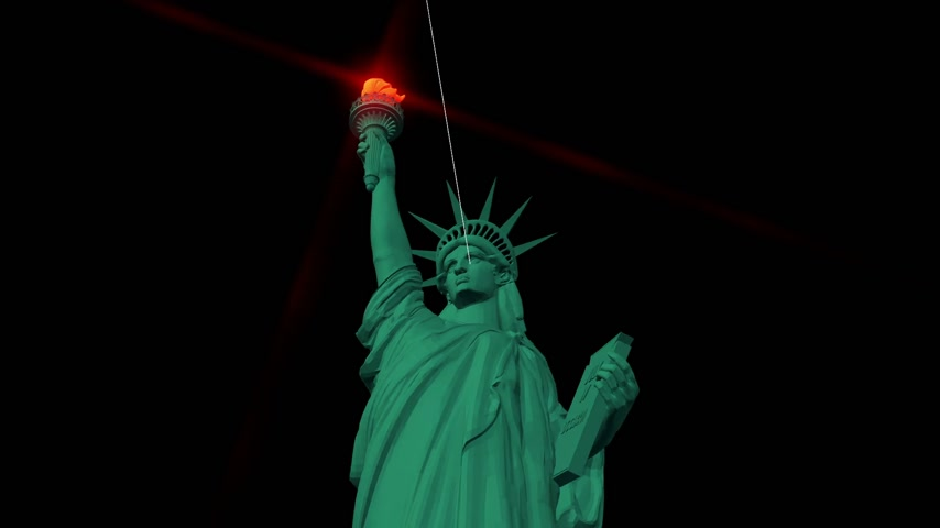 render : Digital animation of the Statue of Liberty Stok Video