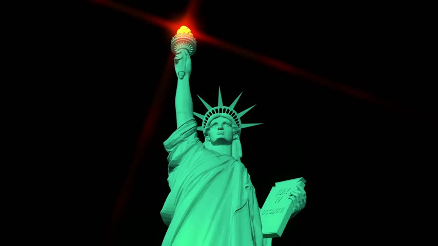 usa independence day : Digital animation of the Statue of Liberty Stock Footage