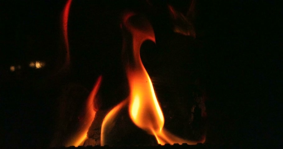 Open fire in oven at Stock Footage