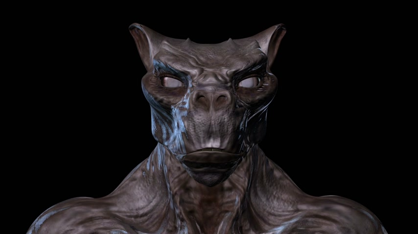 3D digital animation of a morphing creature face