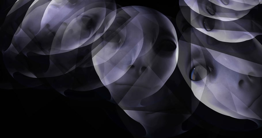 Digital animation of floating alien heads Stock Footage